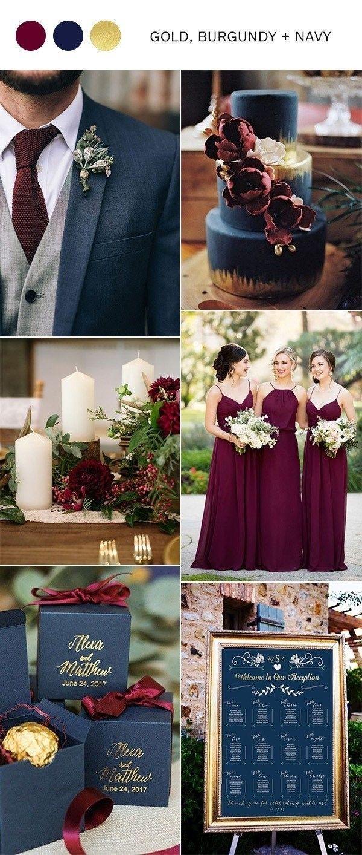 Wedding Decorations Colorful Navy Blue Burgundy And Gold Fall Wedding Color Ideas Wedding Ideas