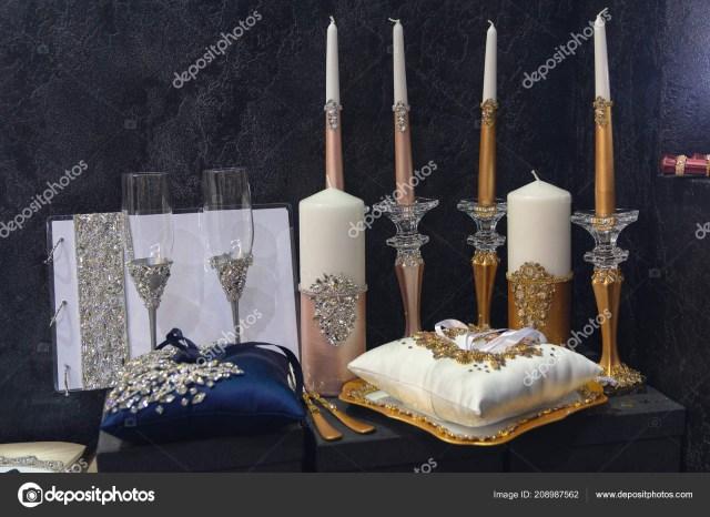 Wedding Decorations Elegant Elegant Glasses Candlesticks Dark Background Wedding Decorations