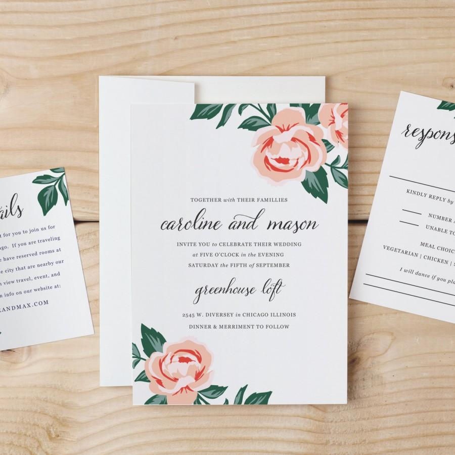 Wedding Invitation Diy Diy Wedding Invitation Template Colorful Floral Word Or Pages