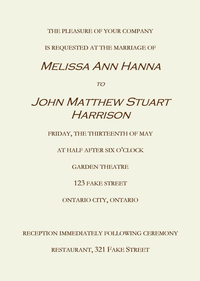 Wedding Invitation Example Need Help Writing