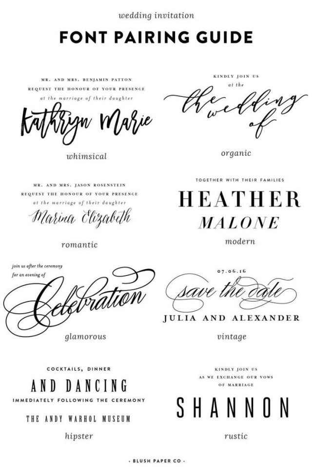 Wedding Invitation Font Guide To Using Fonts On Wedding Invitations Stationary Pinterest