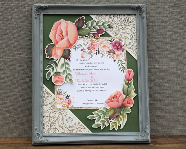 Wedding Invitation Keepsake Shoreline Paintery 8 X 10 Framed Wedding Invitation Keepsake