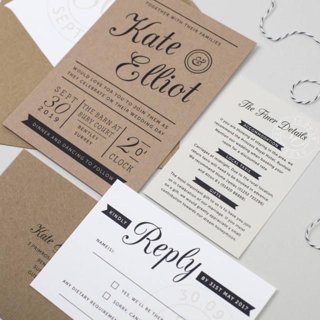 Wedding Invitation Paper Kraft Stamp Wedding Invitation Pear Paper Co