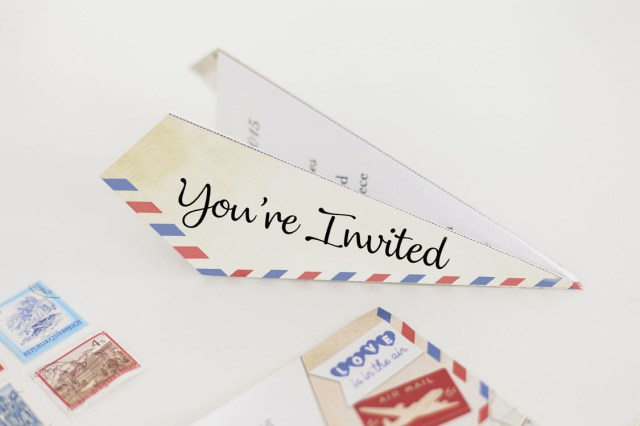 Wedding Invitation Paper Vintage Airmail Paper Airplane Wedding Invitation From 085 Each