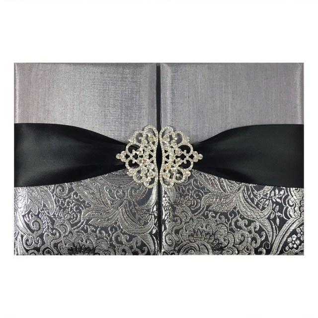 Wedding Invitation Pockets Black Metallic Silver Brocade Wedding Invitation Pocket Folder