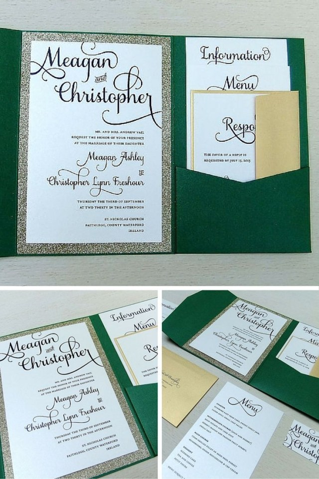 Wedding Invitation Pockets Emerald Green And Gold Glitter Wedding Invitation Set Pocket