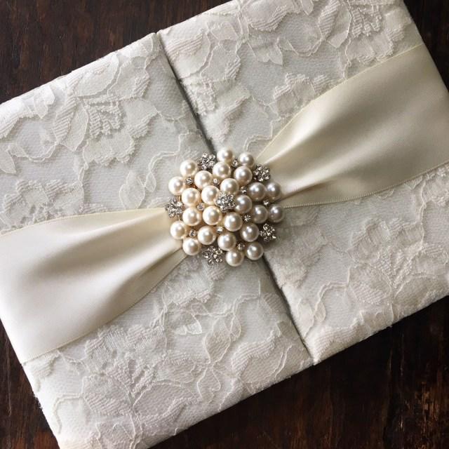 Wedding Invitation Pockets Handmade Ivory Pearl Brooch Embellished Lace Wedding Invitation