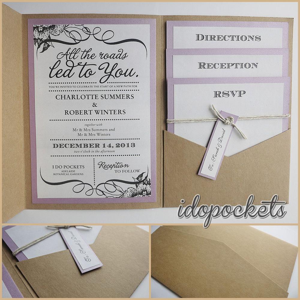 Wedding Invitation Pockets Kraft Wedding Pocket Invitations Diy Pocketfold Envelopes Brown