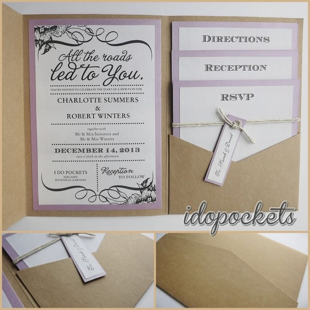 Wedding Invitation Pockets Kraft Wedding Pocket Invitations Diy Pocketfold Envelopes Brown