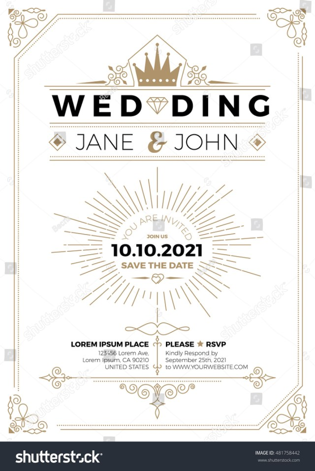 Wedding Invitation Size Vintage Wedding Invitation Card A 5 Size Stock Vector Royalty Free