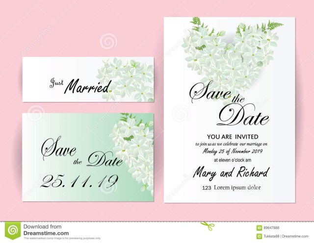 Wedding Invitation Size Wedding Invitation Card Flowersjasmine Stock Vector Illustration