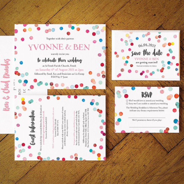 Wedding Invitation Suite Confetti Swirl Wedding Invitation Suite Feel Good Wedding