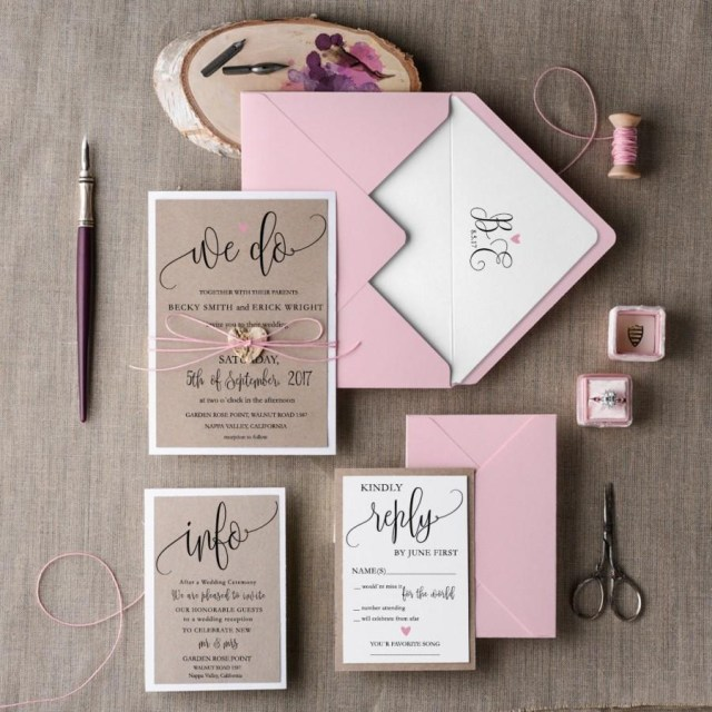 Wedding Invitation Suite Rustic Wedding Invitation Set 20 Wedding Invitation Suite Pink