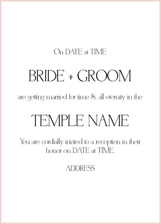 Wedding Invitation Text 8 Lds Wedding Invitation Wording Samples Lds Wedding