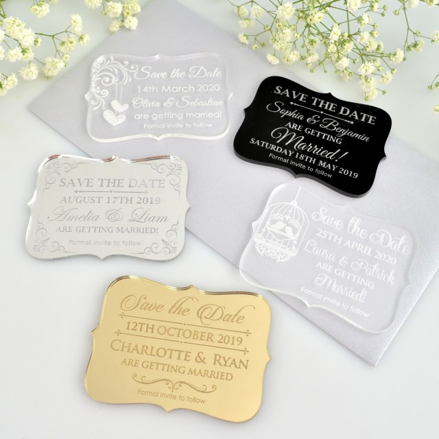 Wedding Invitations And Save The Dates Engraved Acrylic Wedding Mini Save The Date Cards Unique Save The