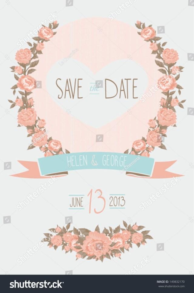 Wedding Invitations And Save The Dates Save Date Wedding Invitation Shab Chic Stock Vektorgrafik
