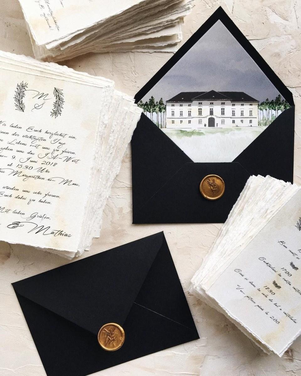Wedding Invitations Envelopes Calligraphy Romantic Wedding Invitation With Custom Envelope Liner