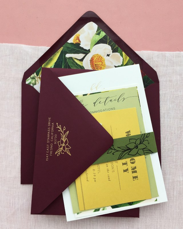 Wedding Invitations Envelopes Romantic Burgundy And Gold Foil Wedding Invitations