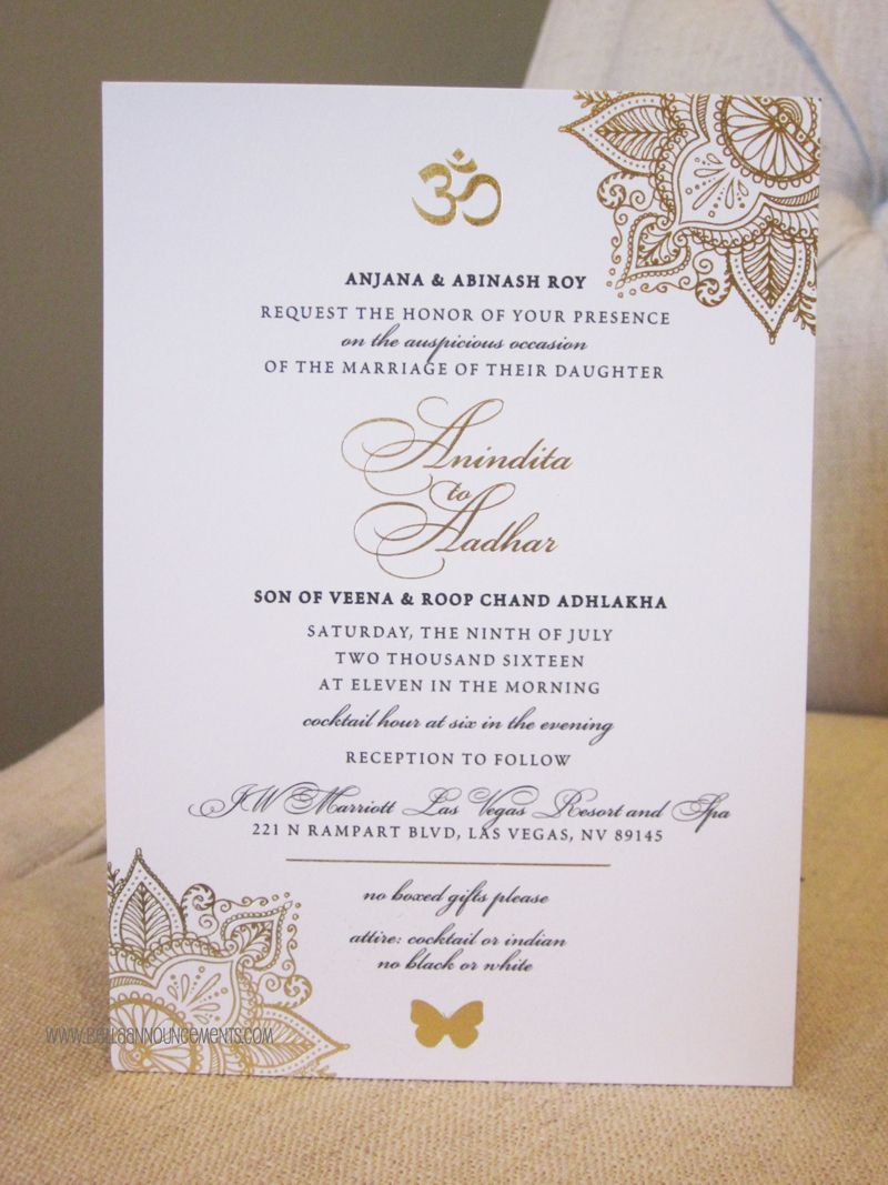 Wedding Invitations Gold 5x7 Announcement Indian Wedding Gold Foil Invitation