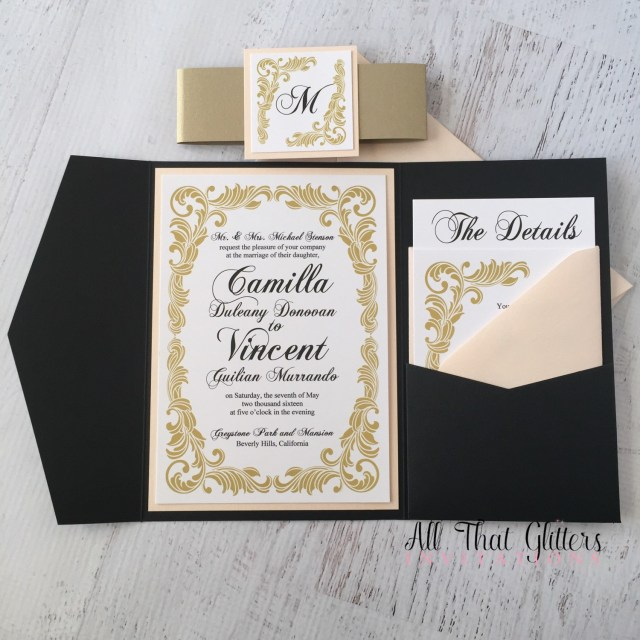 Wedding Invitations Gold Camilla Vintage Wedding Invitation Suite All That Glitters