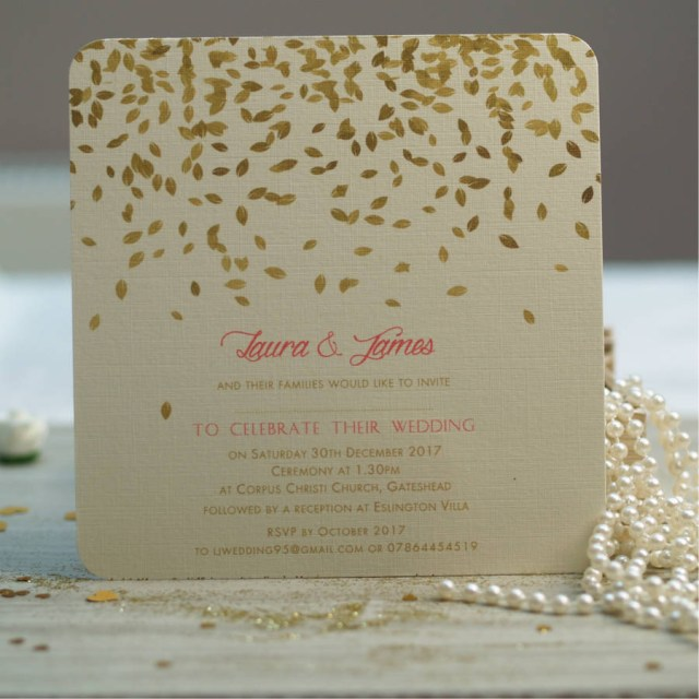 Wedding Invitations Gold Gold Leaves Design Wedding Invitations Beautiful Day