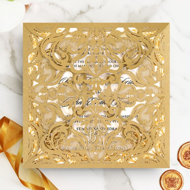 Wedding Invitations Gold Grandiose Gold And Ivory Wrap Luxe And Lavish Invitations