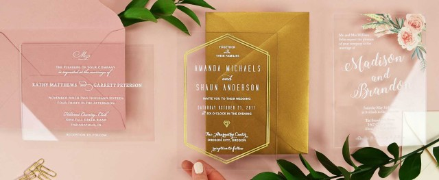Wedding Invitations With Photos Acrylic Wedding Invitations Cards And Pockets
