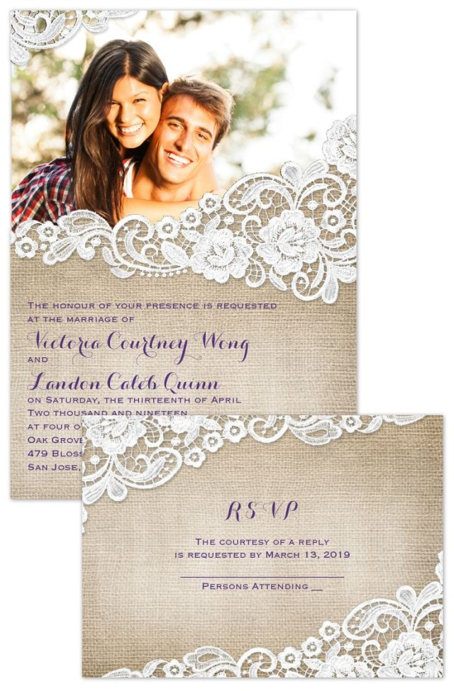 Wedding Invitations With Photos Burlap And Lace Frame Invitation With Free Response Postcard One