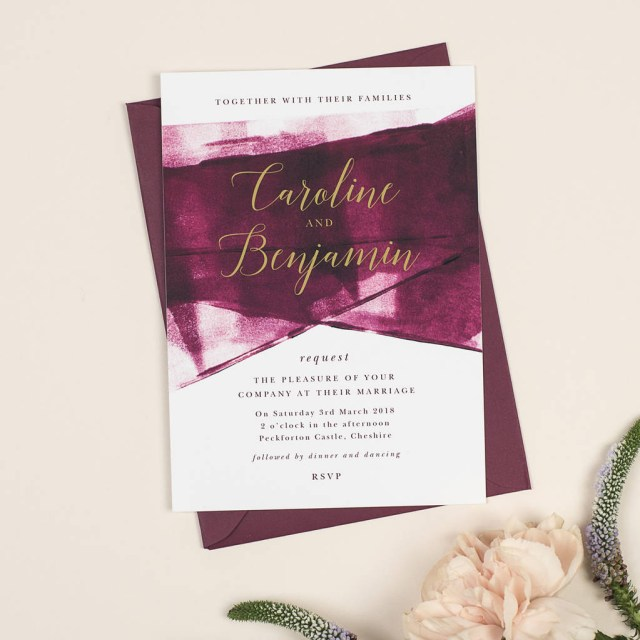 Wedding Invitations With Photos Grace Berry And Gold Wedding Invitations Project Pretty