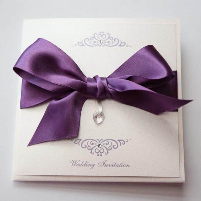 Wedding Invitations With Purple Ribbon Bow Invitation With Swarovski Crystal Heart Purple Ivory Vintage