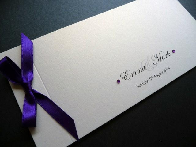 Wedding Invitations With Purple Ribbon Cheque Book Wedding Invitation With A Purple Ribbon Bow I Do Designs