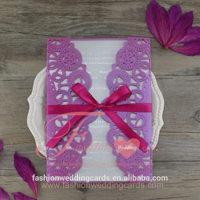 Wedding Invitations With Purple Ribbon New Design Purple Ribbon Wedding Invitation Card With Laser Cut