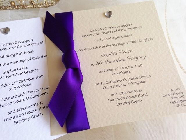 Wedding Invitations With Purple Ribbon Square Flat Wedding Invites Daisy Chain Invites