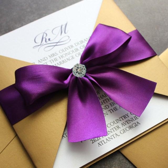 Wedding Invitations With Purple Ribbon Wedding Accessories How To Make Elegant Wedding Invitations Elegant