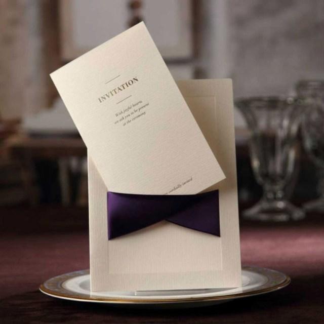 Wedding Invitations With Purple Ribbon Wedding Invitations Cards With Purple Ribbon Pocketfold Invites
