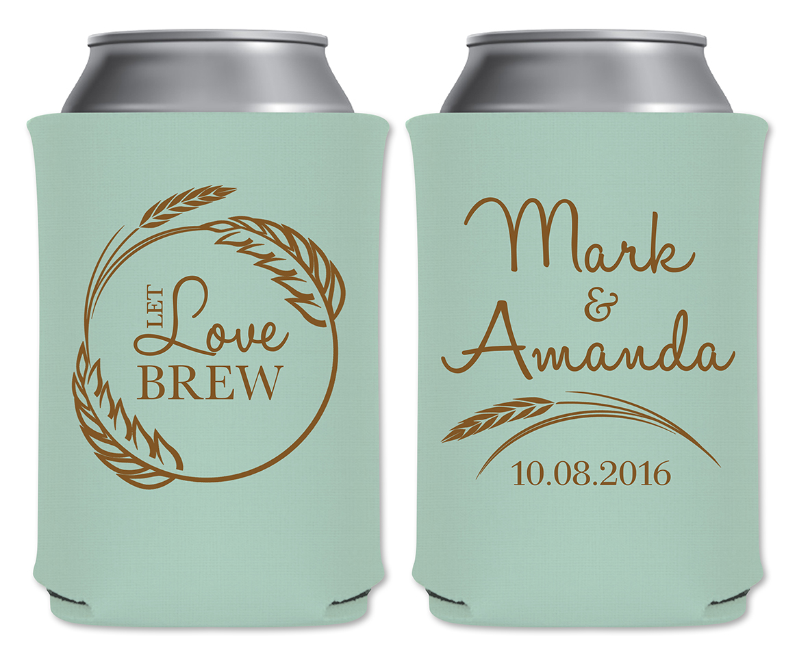 Wedding Koozie Ideas Let Love Brew 2a Neoprene Coolers Wedding Favors That Wedding Shop