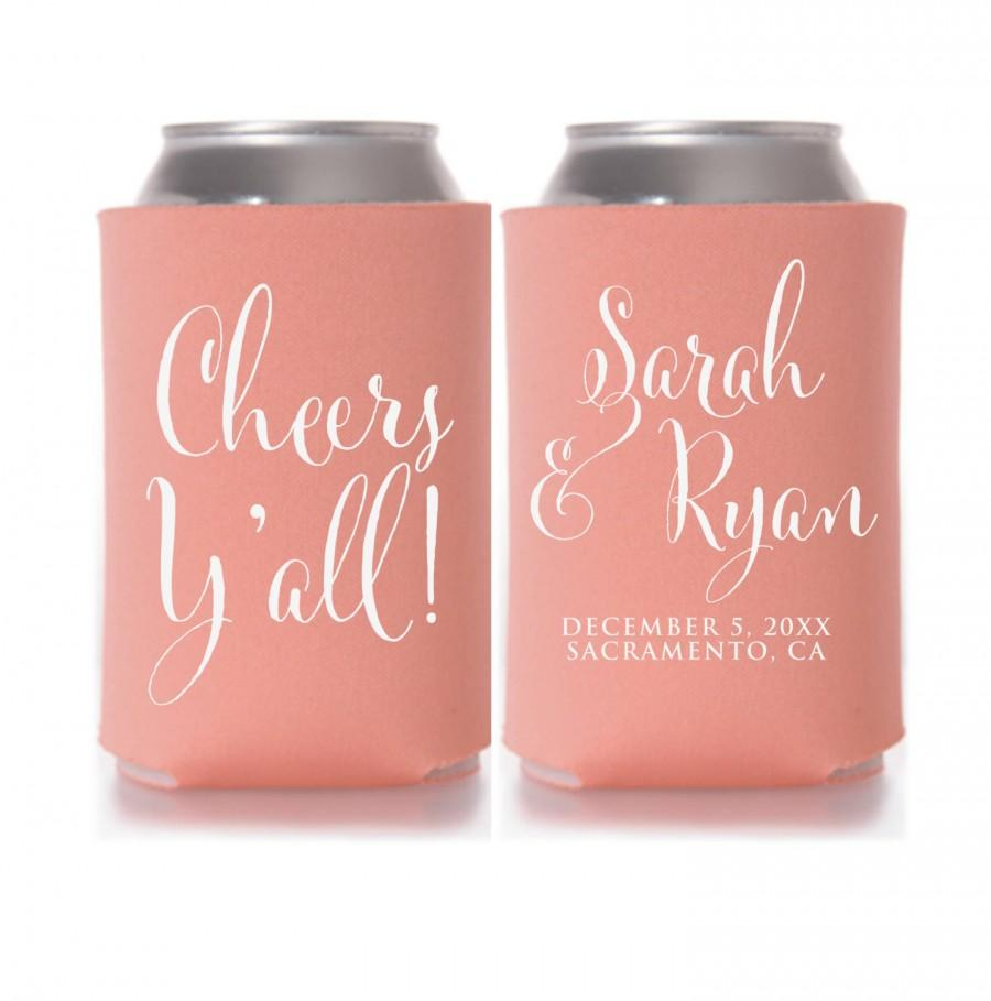 Wedding Koozie Ideas Wedding Koozies Cheers Yall Personalized Can Coolers Wedding