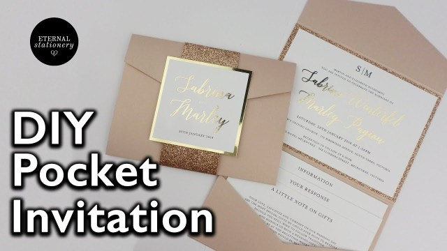 Wedding Pocket Invitations Diy Gold Foil Pocket Folio Wedding Invitation With Template