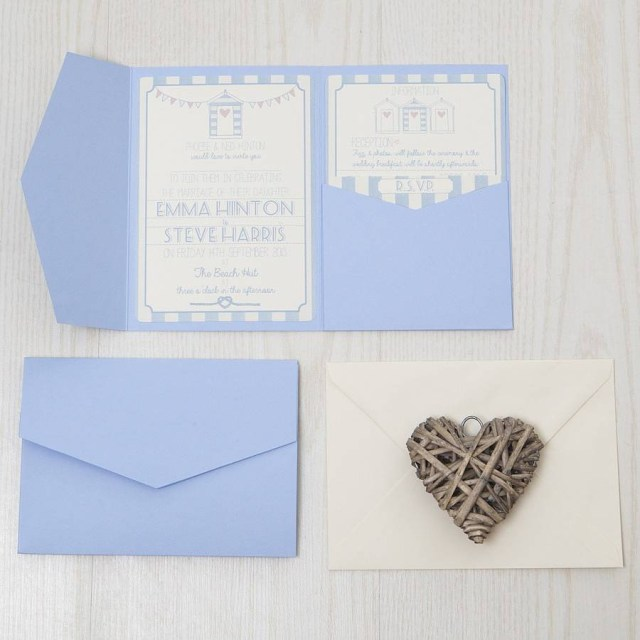 Wedding Pocket Invitations Pocketfold Beach Hut Wedding Invitation Lovely Jubbly Designs