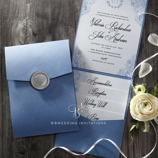 Wedding Pocket Invitations Trifold Pocket Invitation In Pearlized Navy With Silver Seal