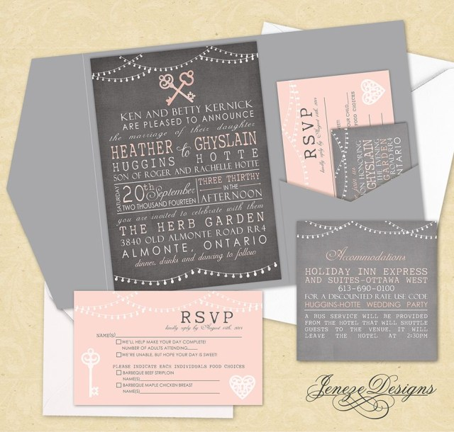 Wedding Pocket Invitations Vintage Wedding Invitation Tri Fold Pocket Set With Vintage Keys