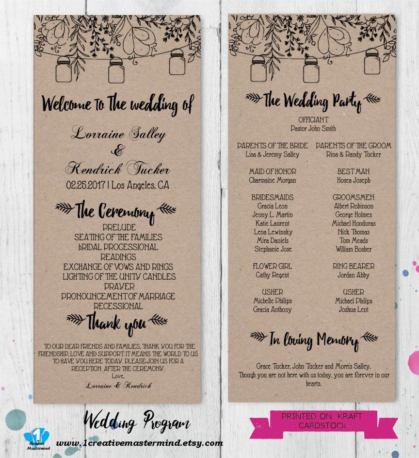 Wedding Program Ideas Diy Rustic Wedding Program Template