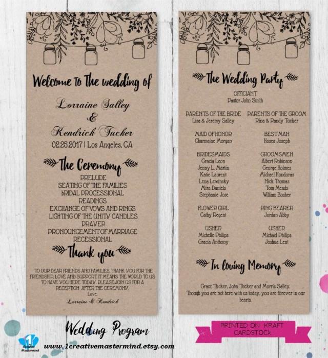 Wedding Program Ideas Diy Rustic Wedding Program Template Printable Editable Program Pdf