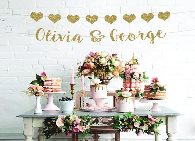 Wedding Shower Decorations Wedding Banner Couples Name Banner Bridal Shower Decorations Etsy
