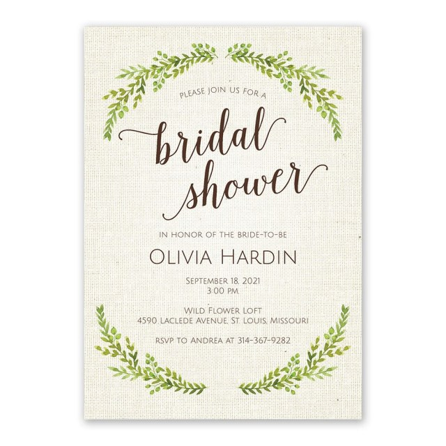 Wedding Shower Invitation Botanical Bride Bridal Shower Invitation Invitations Dawn