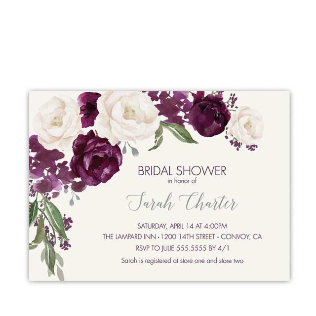 Wedding Shower Invitation Bridal Shower Invitation Purple Plum Watercolor Floral Shower