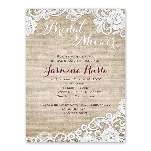 Wedding Shower Invitation Burlap And Lace Bridal Shower Invitation Anns Bridal Bargains