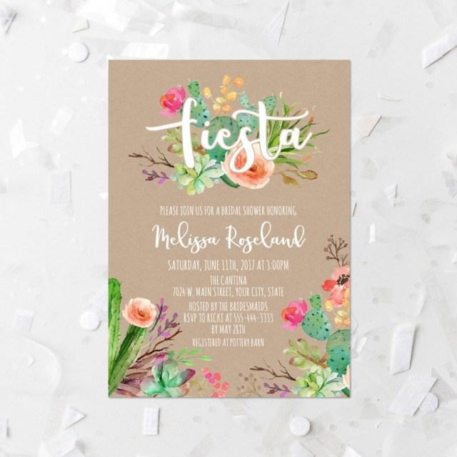 Wedding Shower Invitation Fiesta Bridal Shower Invitation Printable Succulent Bridal Shower