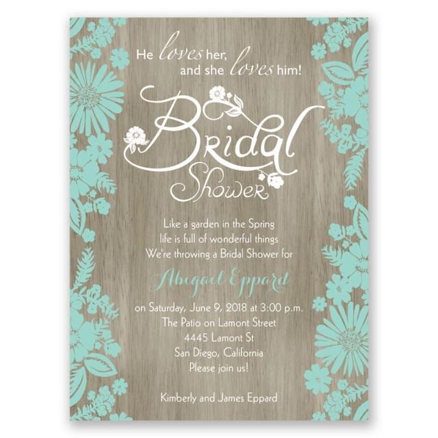 Wedding Shower Invitation Flowers And Woodgrain Petite Bridal Shower Invitation Invitations