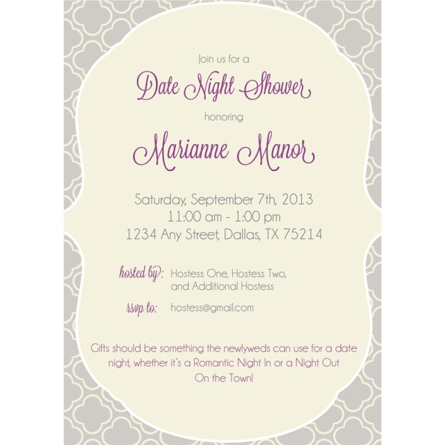 Wedding Shower Invite Date Night Wedding Shower Invitation Kateogroup